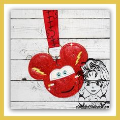 Carz Red Racing Lightning  ~ Pin Lanyard Display Mouse HeaD Trader ~ ITH Mr Miss Mouse Inspired Photo Prop ~ INSTANT Download Design by Carrie aStitchForYou on FB & Etsy