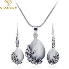 d6d37a348 New Fashion Jewelry Sets Silver Filled Opal Vintage Crystal Necklace  Earring Wedding Jewellery Set for women XY-N596