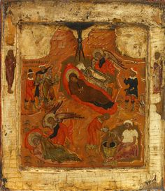 Detailed view: NN001. Nativity- exhibited at the Temple Gallery, specialists in Russian icons