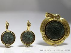 LADY'S 835 & 750 SIGNED APR  20K & 15K YELLOW GOLD ROMAN COIN PENDANT & EARRINGS