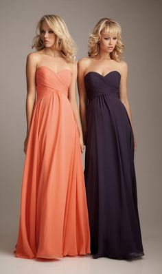 A-Line Pleated Sweetheart Long Bridesmaids Dresses