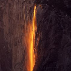 Imagine a wall of fire trickling down the face of a cliff. That's the best way to describe the annual light phenomenon at California's Yosemite National Park. Around the vernal equinox, the park's Horsetail Falls—a waterfall on the side of the infamous El Capitan rock formation—glows a bright orange. | via Travel + Leisure