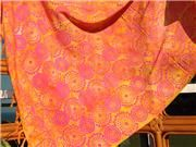 Bright orange with bright pink dotted circle swirl design - S0045
