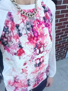 Wore this floral printed baseball tee from Kohl s for a fantasy football  draft with my co-workers. Sporty and Feminine. c3f5884a1