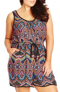 City Chic 'Arcadia' Print Drawstring Waist Romper (Plus Size) City Chic, Dress For Summer, Summer Suits, Plus Size Bademode, Cute Dresses, Beautiful Dresses, Curvy Fashion Summer, Plus Size Jumpers, Valentines Day Dresses