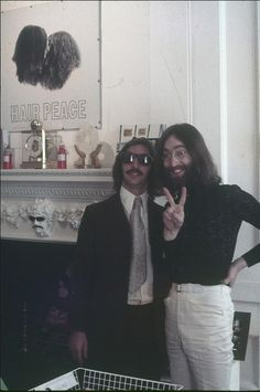 (Richard Starkey) RINGO STARR and John Lennon (this looks like it MIGHT be at Broome Street Apartment. But then again, they liked that white paint thing wherever they went. hmm...