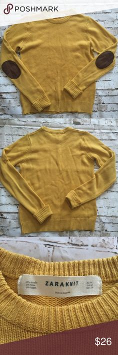Zara knit medium yellow elbow patch sweater Minor pilling nice color and style. In good condition Zara Sweaters Cowl & Turtlenecks