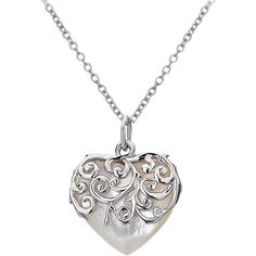 Hot Diamonds Mother of Pearl Heart Pendant, Silver ($98) ❤ liked on Polyvore featuring jewelry, necklaces, accessories, colar, collares, mother of pearl pendant, silver pendant, diamond jewelry, long pendant and diamond jewellery