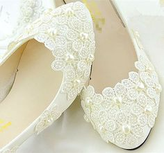 Ivory white lace pearl Wedding shoes Bridal flat low high heels pumps size 5-12 #FlatheelsWedges