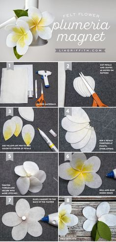 Follow our step-by-step photo tutorial to craft your own felt plumeria! Use the felt plumeria as decor for tropical parties, or make refrigerator magnets!