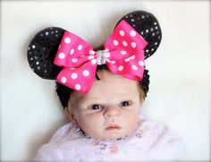 Minnie Mouse inspired Ears Headband  Black Sequin by LilTutuDivas, $10.95
