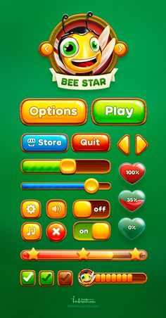 Feel the perfect taste of honey in our new Bee Star UI :) Game Ui Design, Web Design, Stone Age Games, Ui Buttons, Game Buttons, Level Design, Game 2d, Kaizen, Match 3 Games