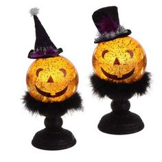 "RAZ Lighted Jack O Lantern Set of 2  2 Asst orange/Black Made of Plastic Measures 12"", 11"" Requires 3 AA Batteries (not included) Color Changing RAZ Exclusive  Grinning Jack O'Lanterns."