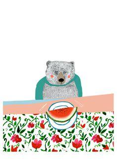 A5 Limited Edition Bear & Melon illustration Art Print