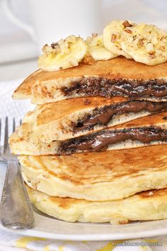 Nutella Stuffed Pancakes from Sweet Tooth Girl Sweets Recipes, Cake Recipes, Cooking Recipes, Desserts, Nutella Pancakes, Birthday Brunch, Greek Recipes, Food Inspiration, Breakfast Recipes