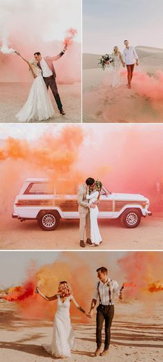 One of the most awesomely unexpected trends of the year has been the use of colored smoke bombs in photography. These beautiful pyrotechnics are popping up in wedding snapshots all around the world, and we're kind of obsessed… Credits:… - Hochzeit Wedding Guest Book, Wedding Pictures, Wedding Reception, Rustic Wedding, Wedding Beauty, Dream Wedding, Wedding Hair, Spring Wedding, Perfect Wedding