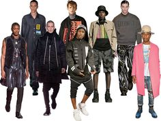 Over the past few seasons, the gulf between luxury fashion and street wear has largely disappeared. From left: Givenchy, fall 2015; Raf Simons, spring 2015; Rick Owens, fall 2015; McQ by Alexander McQueen, spring 2015; the rapper ASAP Rocky in Hood by Air, fall 2013; Alexander Wang, spring 2015; Calvin Klein Collection, fall 2014; the singer and producer Pharrell Williams in a Céline coat in 2014.