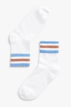 Monki Stripe detail socks in Blue