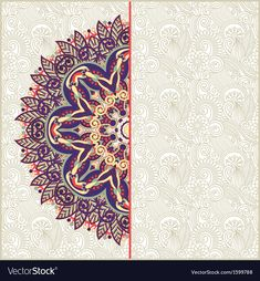 Ornate circle floral card announcement vector 1599788 - by kara-kotsya on VectorStock® Wedding Invitation Background, Wedding Invitation Card Design, Islamic Art Pattern, Pattern Art, Wedding Banner Design, Food Graphic Design, Graffiti Wallpaper, Arabesque, Mandala Art