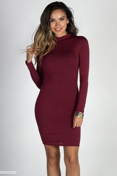 a113e836fc87 Bodycon Long Sleeve Turtleneck Jersey Sexy Burgundy Dress Cute Casual  Dresses, Casual Dress Outfits,