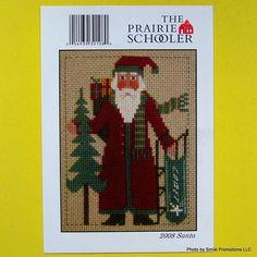 "! 2008 The PRAIRIE SCHOOLER SANTA Counted Cross Stitch Pattern 5"" x 7"" Card #ThePrairieSchooler"