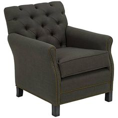 Pasadena Tufted Charcoal Linen Chair