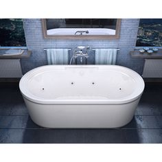 Mountain Home Sierra 34 in. x 67 in. Acrylic Air and Whirlpool Jetted Freestanding Bathtub.  Mountain Home aims to deliver luxury and soothing comfort with a wide selection of elegantly crafted bathtubs.