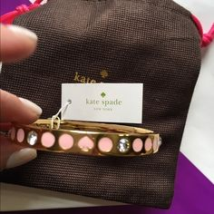 NWT!  Authentic Kate Spade bracelet Brand new!  Pink, gold and crystal spade bangle kate spade Jewelry Bracelets