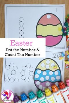 Easter Egg Dot the Number & Count the Number Printable Activities For Kids, Counting Activities, Kids Learning Activities, Easter Activities, Number Activities, Easter Worksheets, Preschool Worksheets, Lacing Cards, Do A Dot