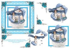 The LightHouse Snowman Square Decoupage Card Sheet on Craftsuprint designed by Elaine Sheldrake - A jolly Thomas Kinkade snowman, he is holding a lighthouse and his lovely knitted scarf is blowing in the wind. This charming scene will be a winner with both adults and children as well as lighthouse collectors! - Now available for download!