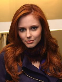 Medium red brown AUBURN- Hair Color....one length hair set on rollers- Haircut... Best on - Fine to medium texture...like the cut but not the color