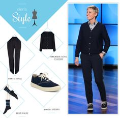 Ellen's Look of the Day: Navy cardigan, pants and Sperrys