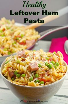 Healthy Leftover Ham Pasta - Use up that leftover ham and leftover mascarpone cheese with this Healthy Leftover Creamy Ham Pasta & Peas recipe! It's a quick, easy and delicious meal in 30 minutes! Pea Recipes, Salad Recipes, Cooking Recipes, Healthy Recipes, Healthy Food, Healthy Eating, Healthy Dinners, Healthy Desserts, Cooking Tips