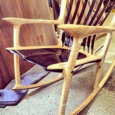 Curly maple & Wenge beautiful heirloom rocking chair built by Paul Lemiski.