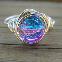 Silver plated wire wrapped cracked ice pink and blue ring rings Cute Jewelry, Jewelry Box, Jewelery, Jewelry Accessories, Jewelry Making, Unique Jewelry, Etsy Jewelry, Jewelry Rings, Ice Ring