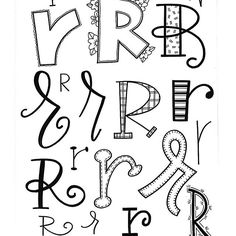 Hand lettering the letter R Doodle Fonts, Doodle Lettering, Creative Lettering, Lettering Styles, Brush Lettering, Lettering Ideas, Hand Lettering Alphabet, Calligraphy Letters, Caligraphy