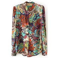 Purple Stand Collar Long Sleeve Floral Chiffon Blouse ($28) ❤ liked on Polyvore