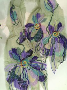 "Yaga chiffon scarf from the collection of fashion accessories ""FLEUR"": Size: cm Price Nuno Felting, Needle Felting, Felt Flowers, Fabric Flowers, Nuno Felt Scarf, Felted Scarf, Ribbon Art, Felting Tutorials, Fabric Beads"