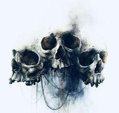 Tattoos on back Evil Skull Tattoo, Skull Tattoo Design, Tattoo Designs, Girl Skull Tattoos, Arte Horror, Horror Art, Dark Art Drawings, Tattoo Drawings, Tattoo Caveira