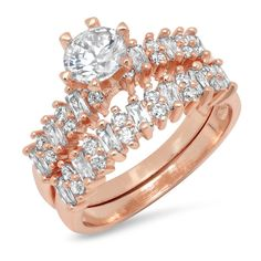 1.15 Cttw Ladies Round And Baguette Cubic Zirconia Engagement And Band... (42 BRL) ❤ liked on Polyvore featuring jewelry, rings, jewelry & watches, pink, rose gold ring, cz rings, round engagement rings, rose gold cubic zirconia rings and engagement rings
