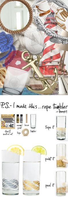 P.S.-I made this...Rope Tumbler with @Ed Roth / Stencil1 @Plaid Crafts #PSIMADETHIS