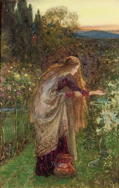 The Sensitive Plant, study, Sir Frank Dicksee. English Pre-Raphaelite Painter (1853 - 1928)