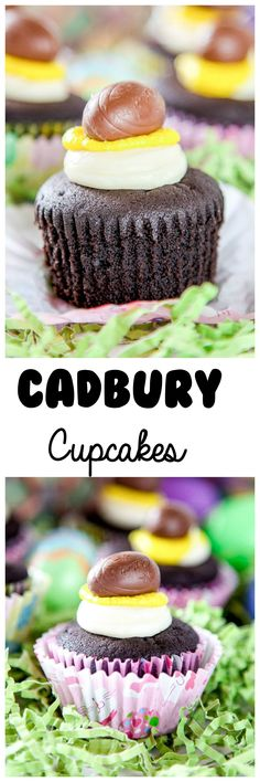 Cadbury Cupcakes: Rich chocolate cupcakes with creamy buttercream frosting decorated to look like a Cadbury Egg. The easiest and yummiest Easter Cupcake around!
