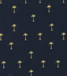 Keepsake Calico™ Cotton Fabric-Gold Metallic Palm Trees On Navy