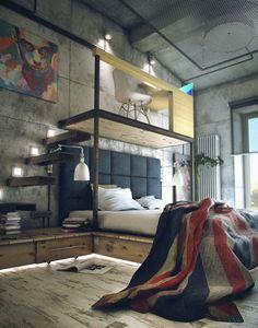 Industrial Décor   http://www.delightfull.eu/en Dual-level-bedroom-mezzanine-office Dual-level-bedroom-mezzanine-office