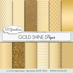 "Gold digital paper, Christmas gold paper ""GOLD SHINE"" gold background, gold glitter, golden stars, chevron, gold quatrefoil, blog background on Etsy, $4.90"