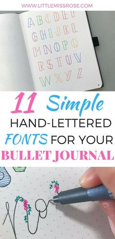 Want some simple examples of hand-lettered fonts for your bullet journal? Click here!