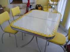 https://flic.kr/p/7VLxF2   Vintage yellow Formica wave table   Awesome yellow formica table.. 85.00 on craigslist.  Chairs were in the attic just needed recovering..