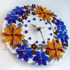 """Art Glass Wall Clock """"Field of flowers"""" fusing Bird Bath Bowl, Glass Bird Bath, Clock Craft, Art N Craft, Fused Glass Bowl, Glass Bowls, Glass Wall Art, Glass Flowers, Casket"""