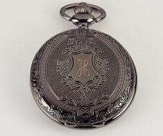 Gepersonaliseerde zwarte Pocket Watch aangepaste door AnniesHours